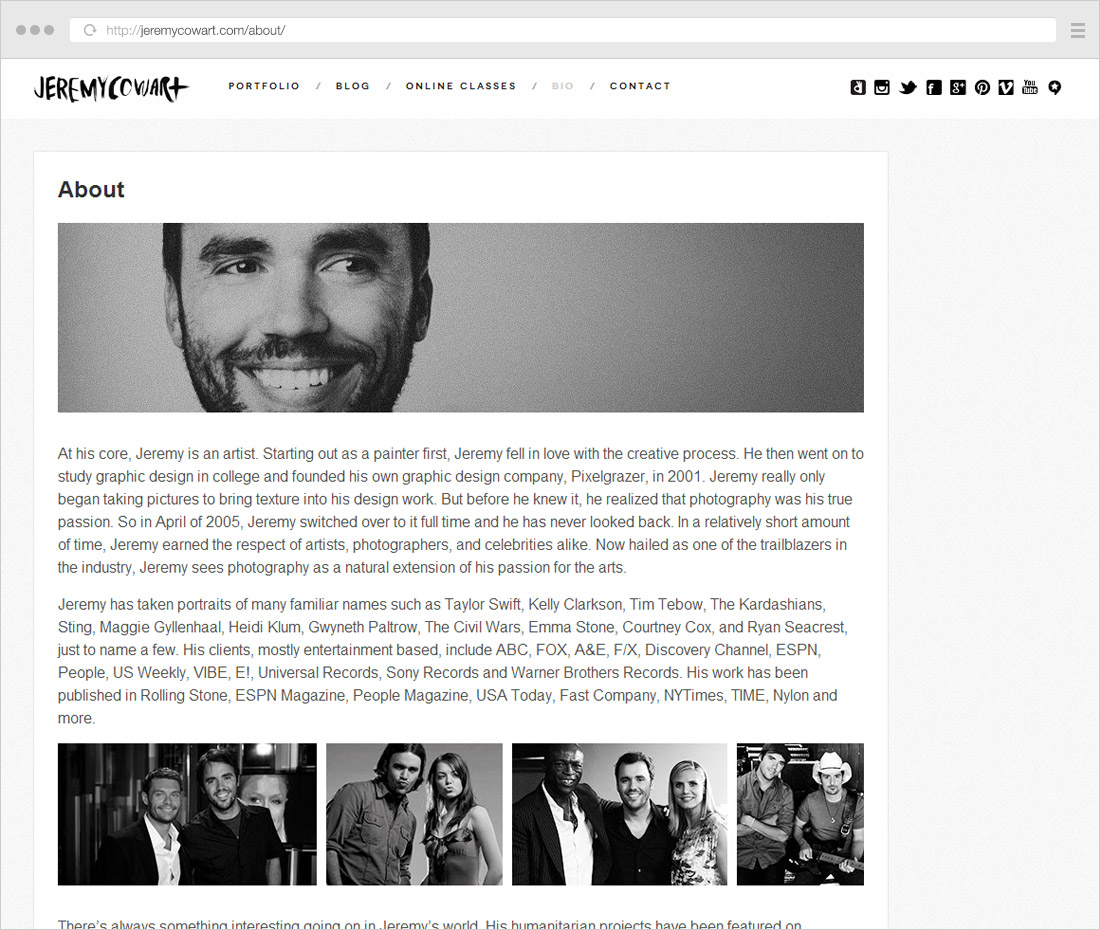 About page example: photographer showing photo examples with celebrities