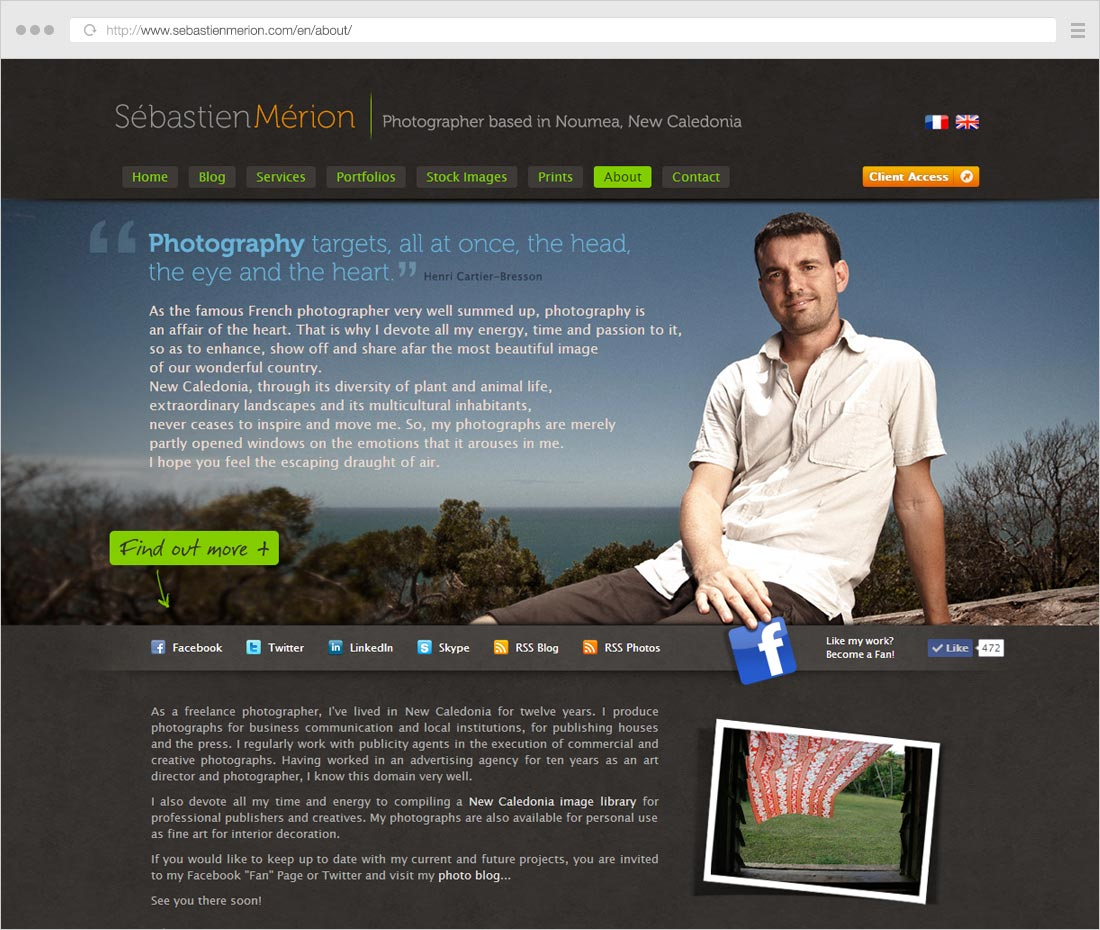 Creative photography About page example, custom design