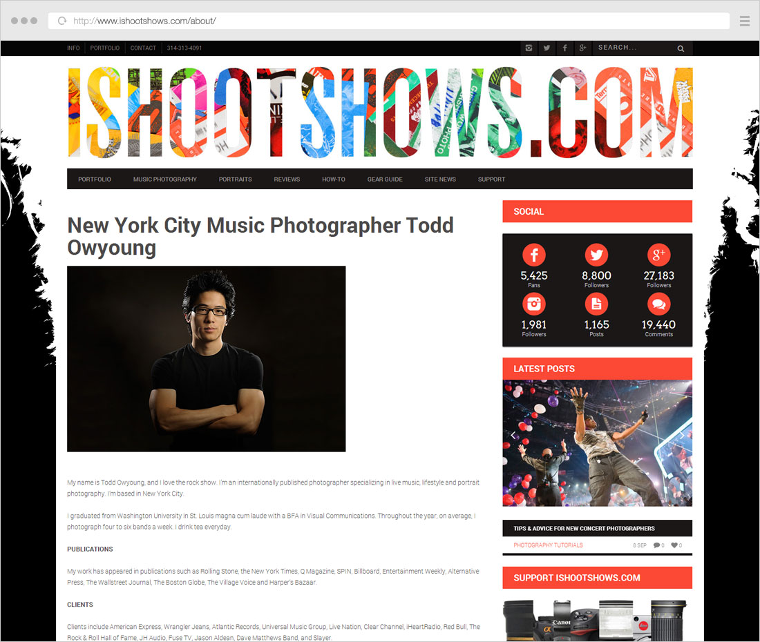 About page photographer page with sidebar info