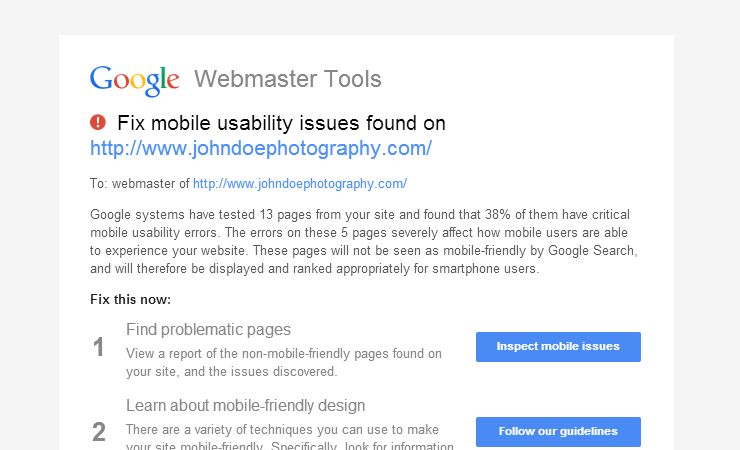 google search console email notification about mobile usability