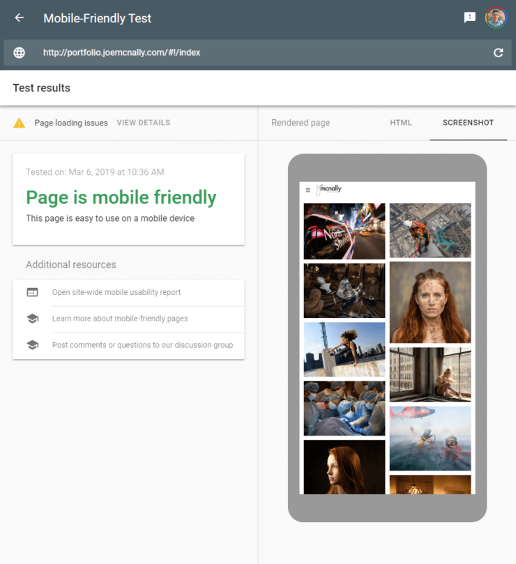 Google's Mobile-Friendly test tool screenshot of photo site