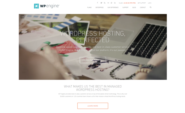 WP Engine homepage preview - February 2016