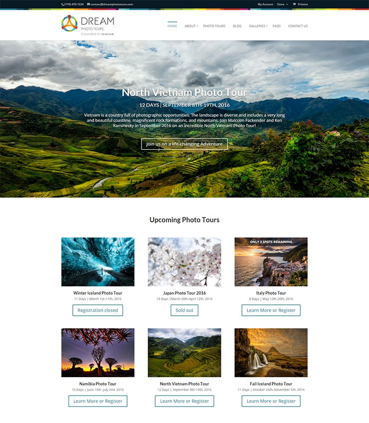 Dream Photo Tours website homepage preview