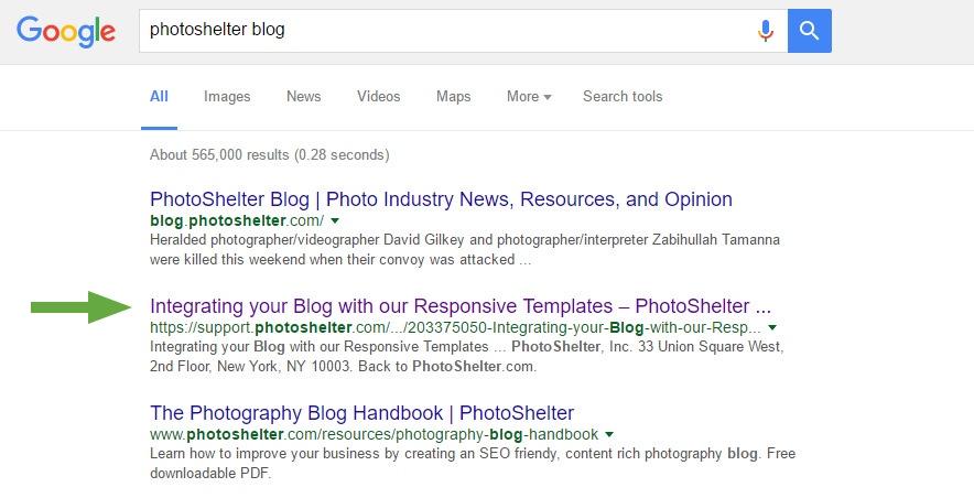 photoshelter blog google search preview