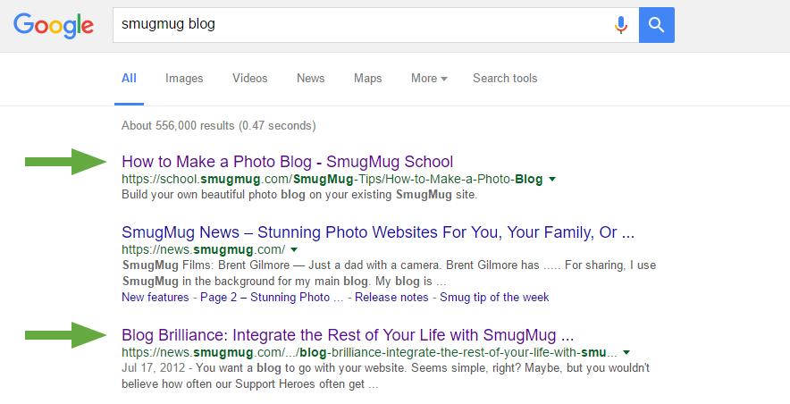 smugmug blog google search preview