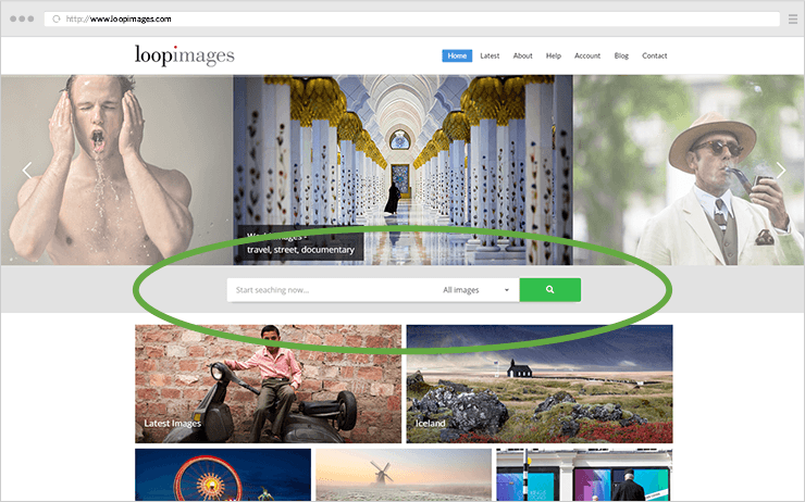 Something that photo agencies usually master: using a great prominent search box.