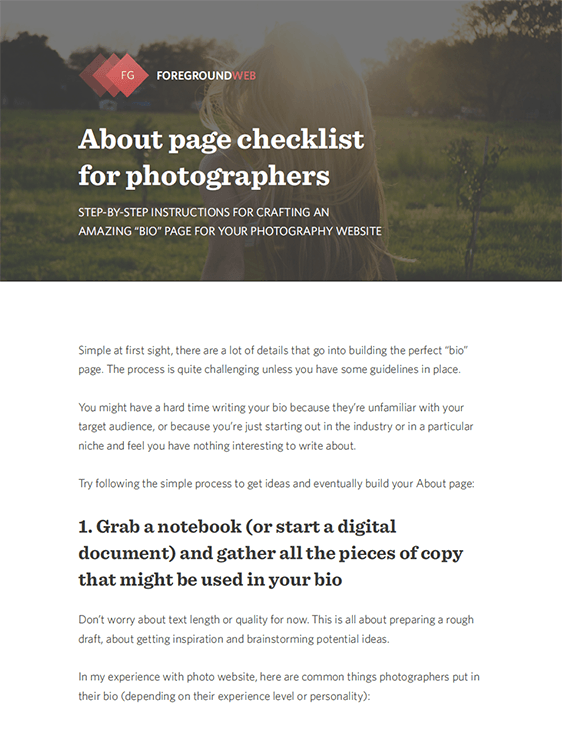 About page checklist for photographers (PDF) cover page