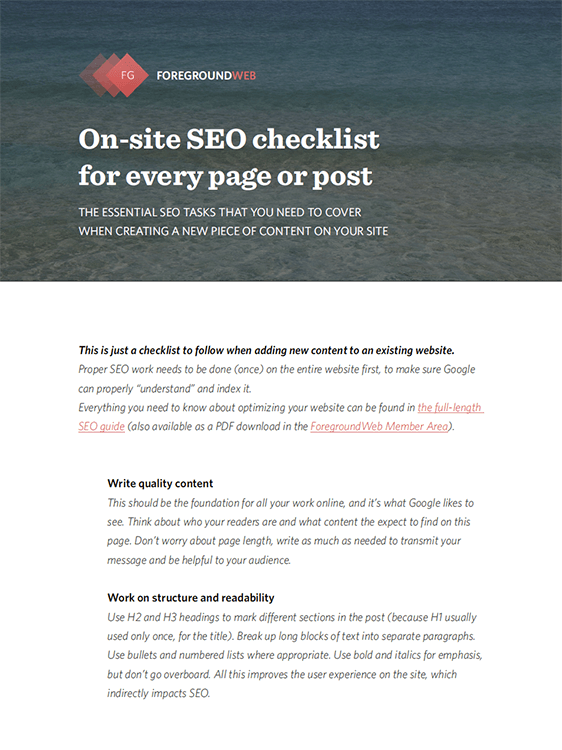On-site SEO checklist for every page or blog post (PDF) cover page