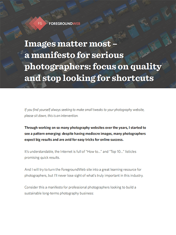 Your images matter most (manifesto) cover page