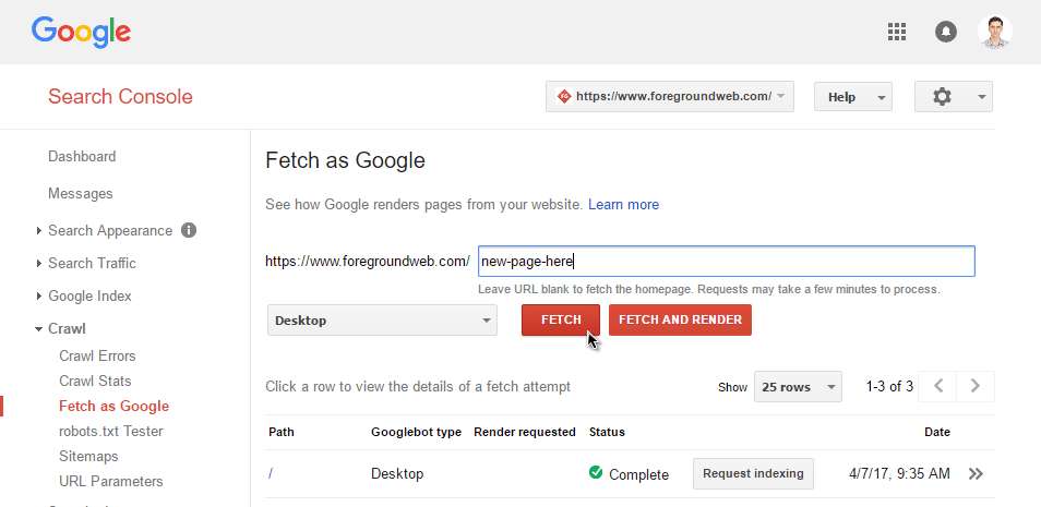 google search console - fetch as google preview