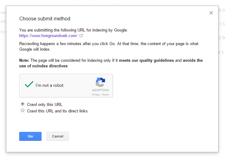 google search console - request indexing preview