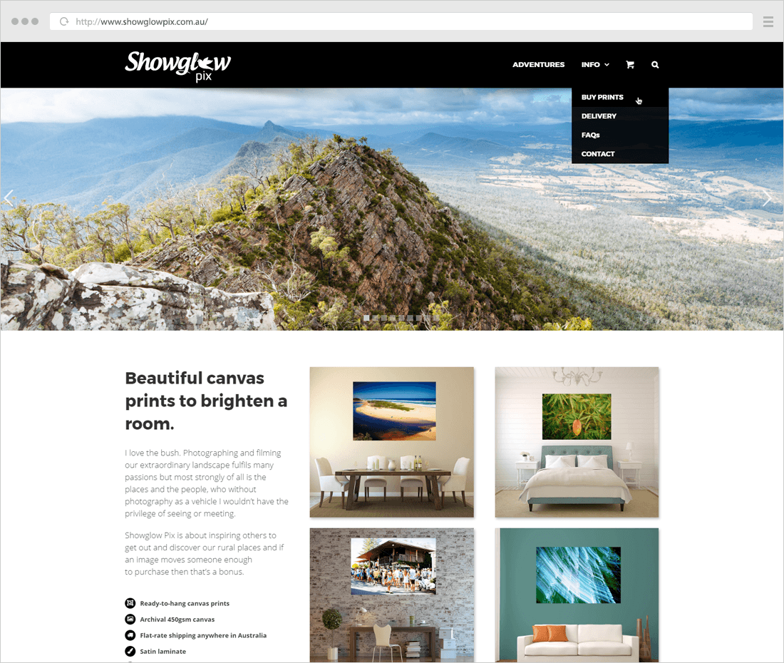 ShowglowPix minimalist photography website example