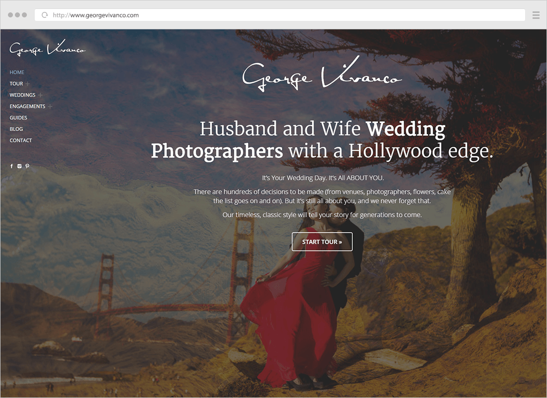 George Vivanco wedding photography website - homepage preview with call to action button to start a tour