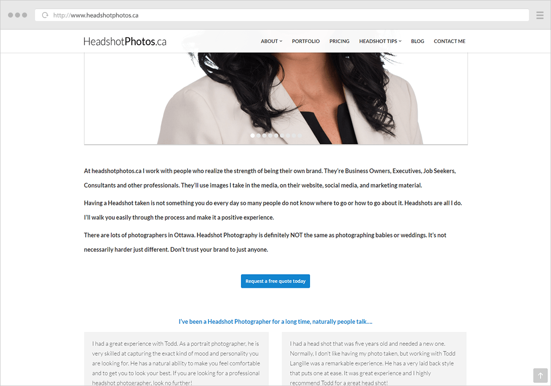 Headshot photos website - call to action button example on every page