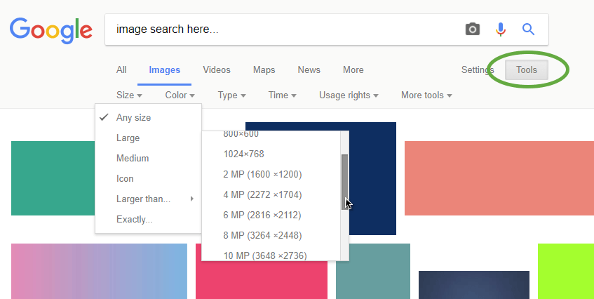 Google Image search tools > filtering by image size (dimensions)