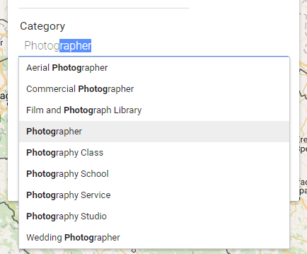 Google My Business listing category > photographer
