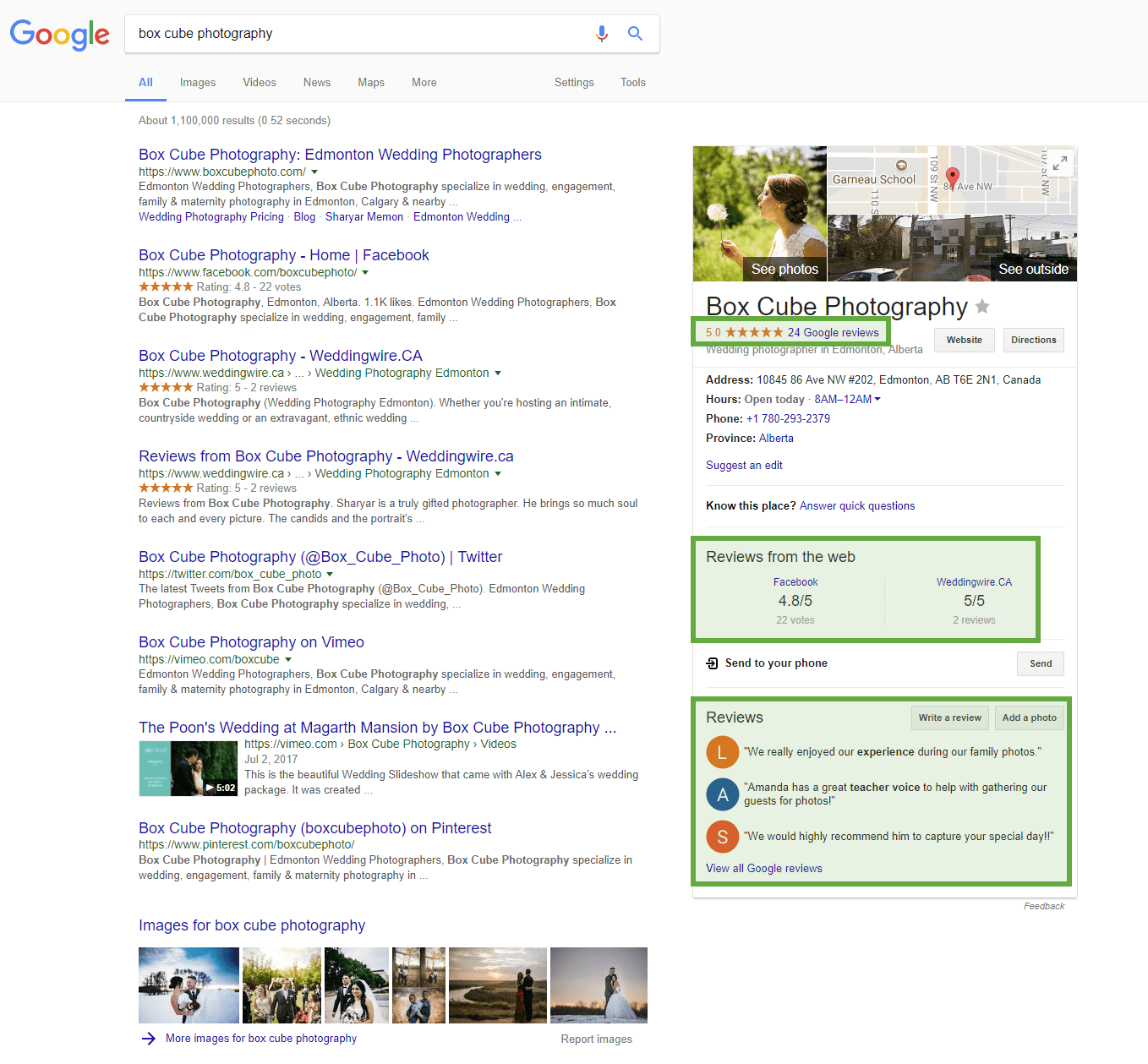 Google My Business photographer listing > reviews highlights