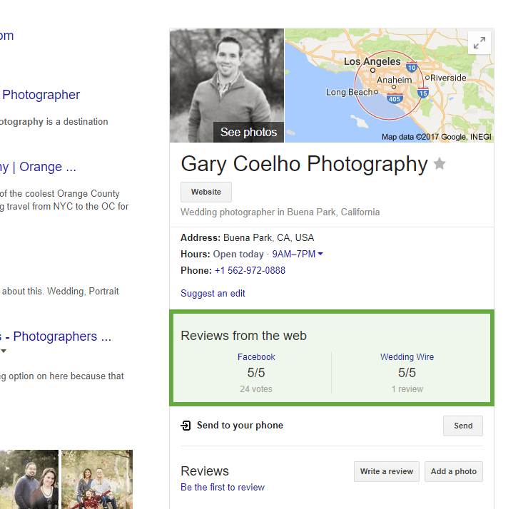 Google My Business listing reviews from the web facebook