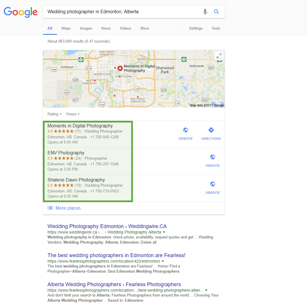 Google business map block > business listing reviews examples