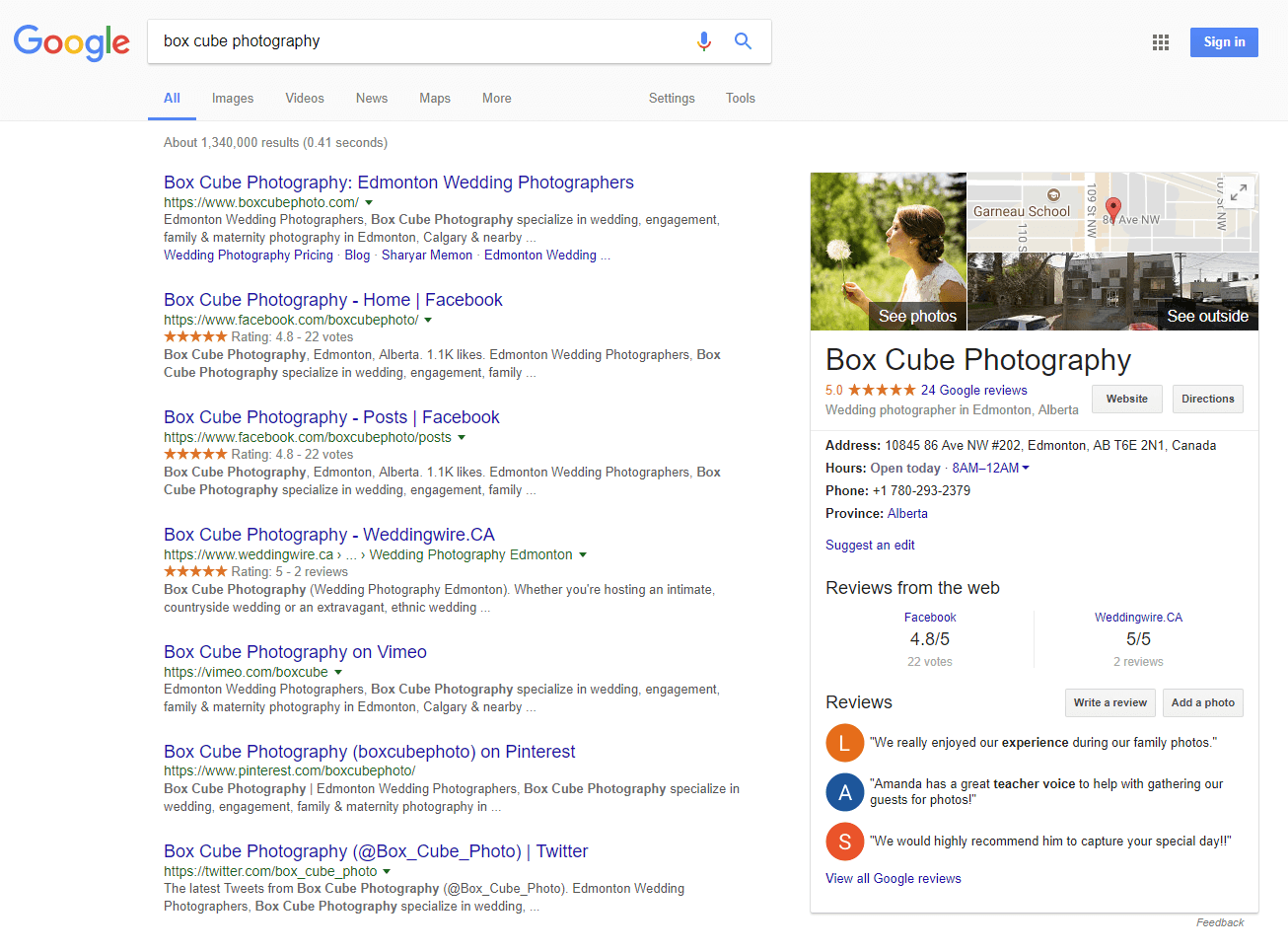 Google My Business photographer example 3
