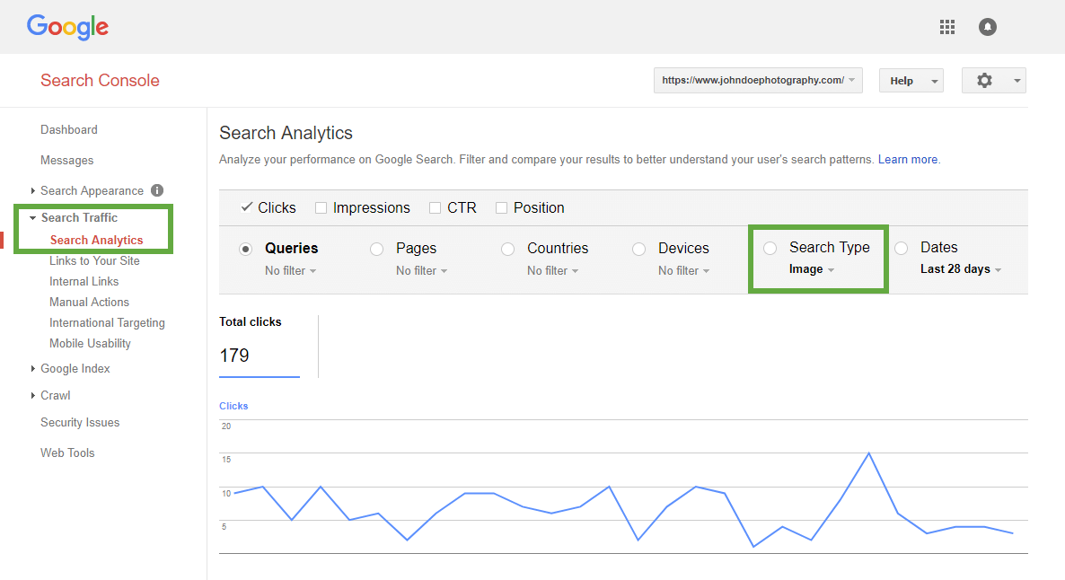 Google Search Console > Search Analytics report > filtering by Images