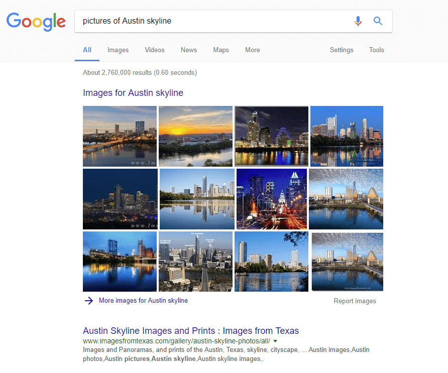 Example of Google SERP image mega pack feature