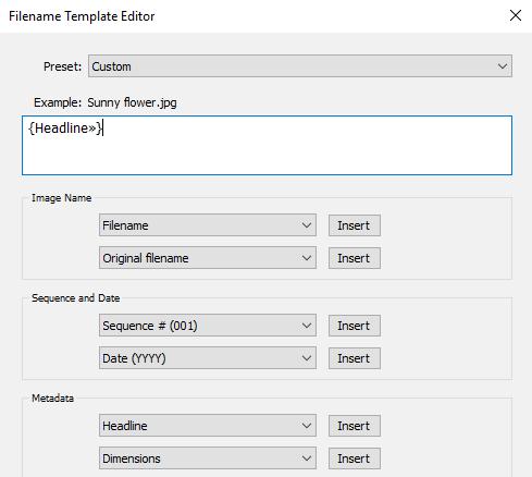 Filename Template Editor in Lightroom: using IPTC Headline field to rename images