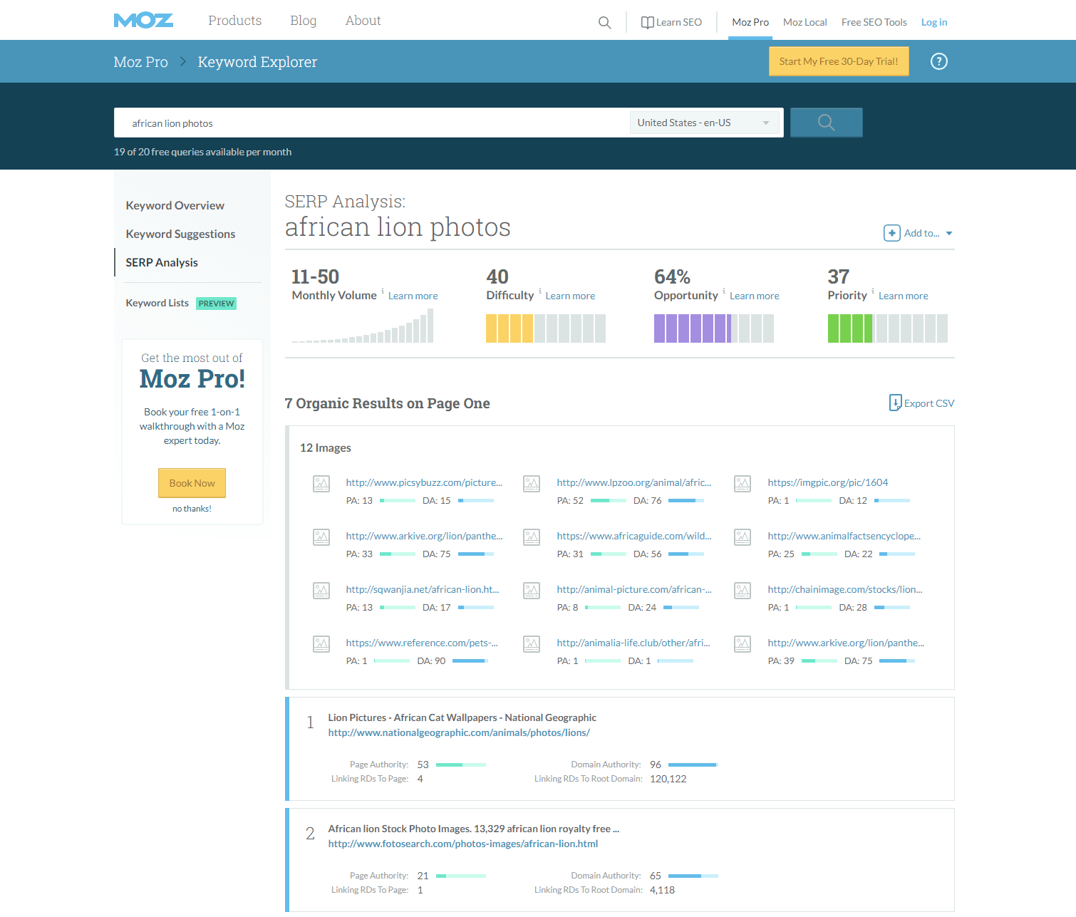 MOZ Keyword Explorer > SERP Analysis (for image SEO keyword research)