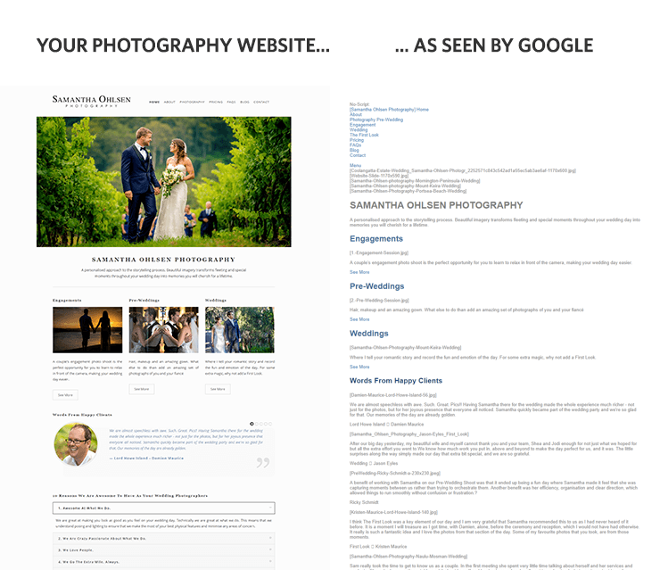 Photography website as seen by Google