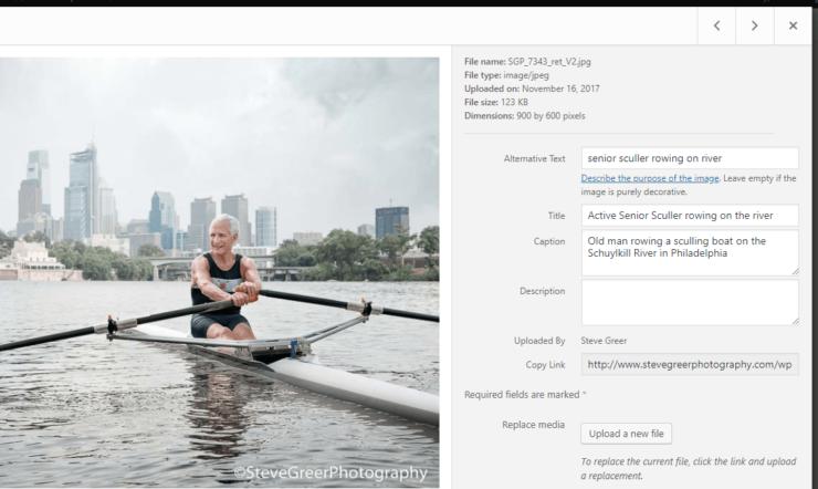 WordPress image in media library example