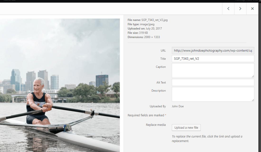 Image metadata editor in WordPress media library