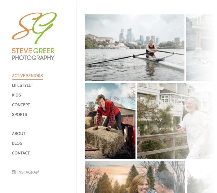 Steve Greer navigation menu portfolios