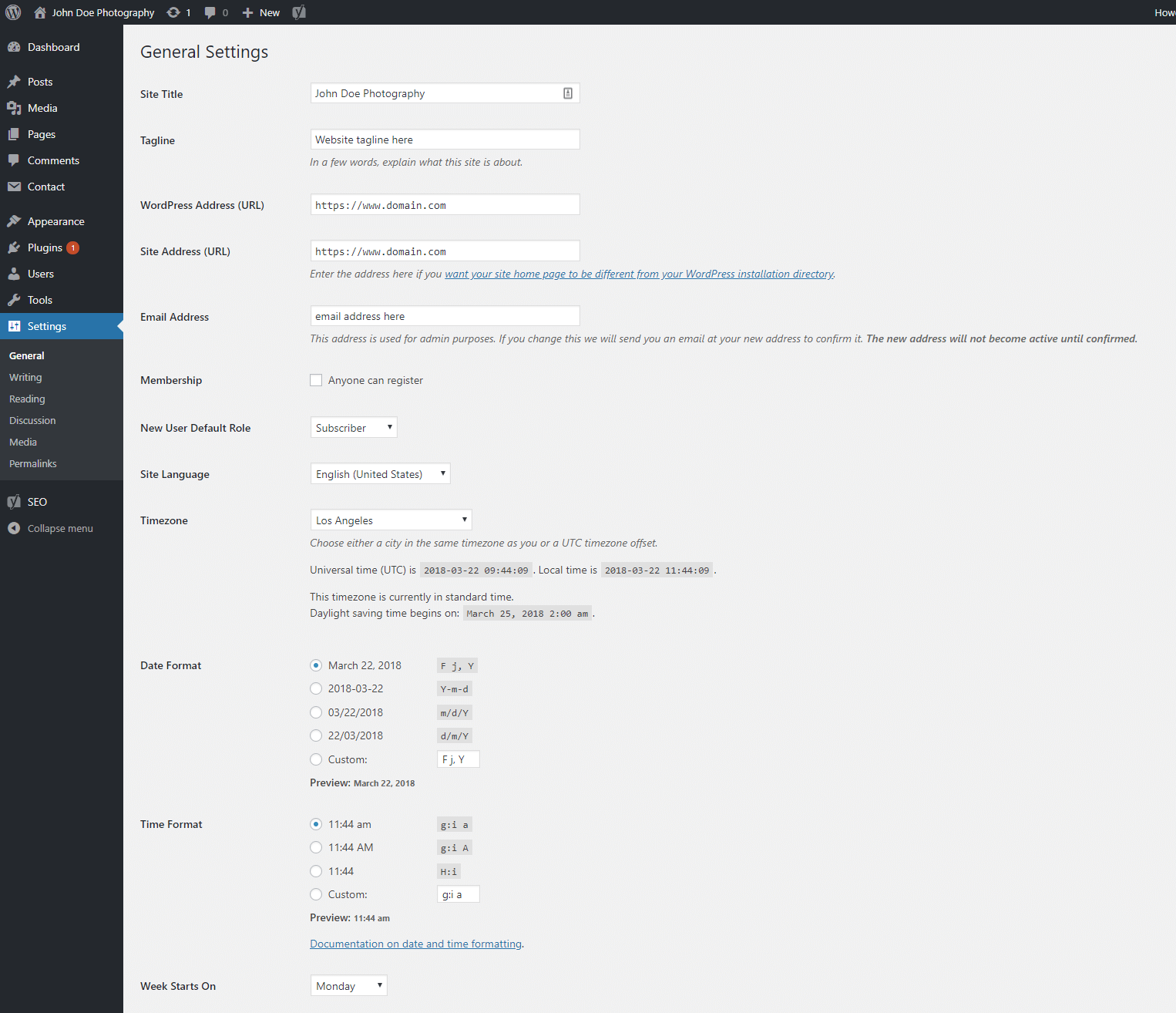WordPress general settings preview