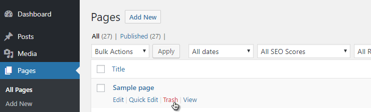"WordPress admin > deleting ""Sample page"" preview"