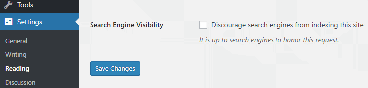 WordPress Reading settings > Discourage search engines