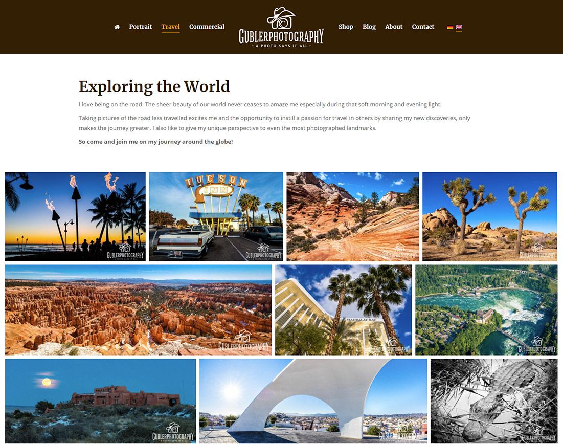 Photography image grid using The7 WP theme