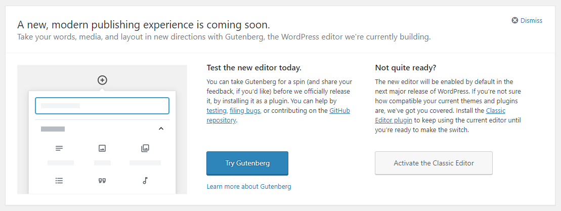 New Gutenberg page editor callout in WordPress 4.9