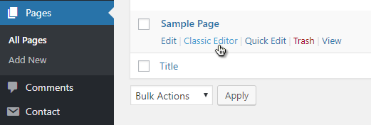 Classic Editor link in All Pages (WordPress)