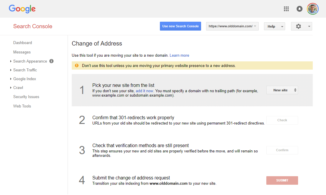"""Preview of the """"change of address"""" tool in the old Google Search Console"""