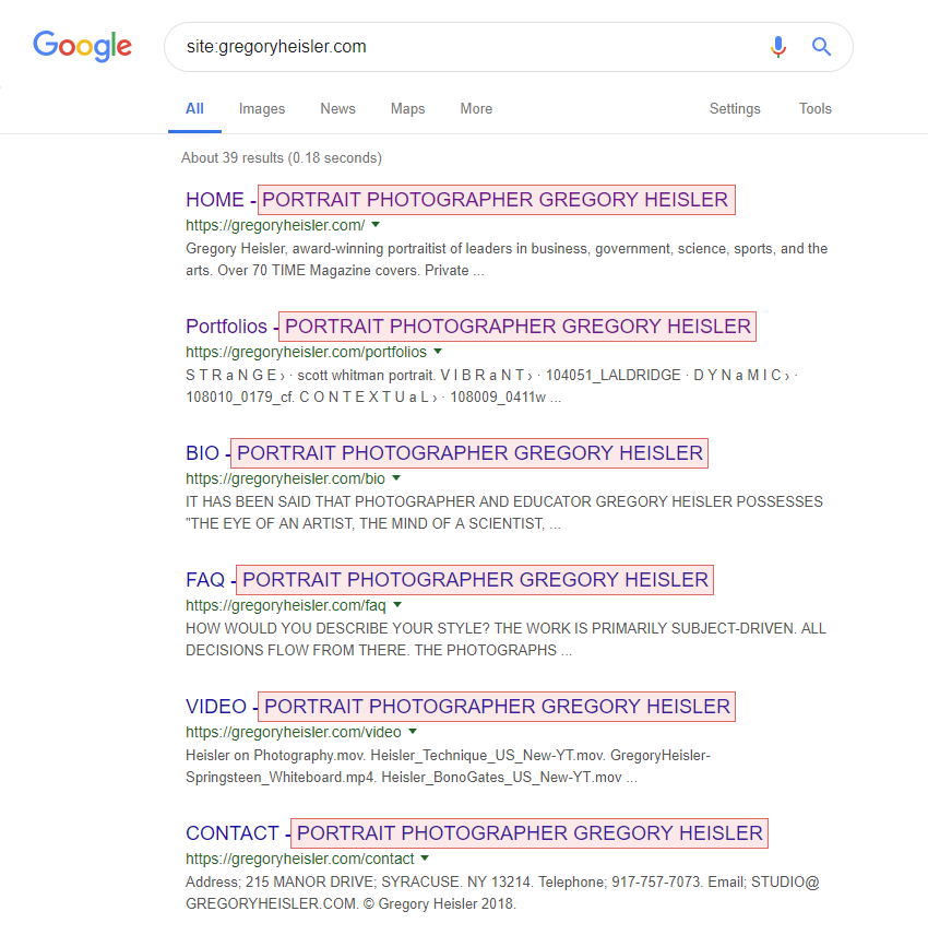 Example of Google listing a photography website pages where all SEO titles contain the same suffix