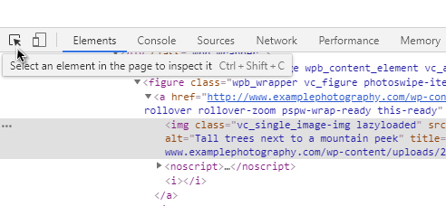 Element selector in Chrome dev tools
