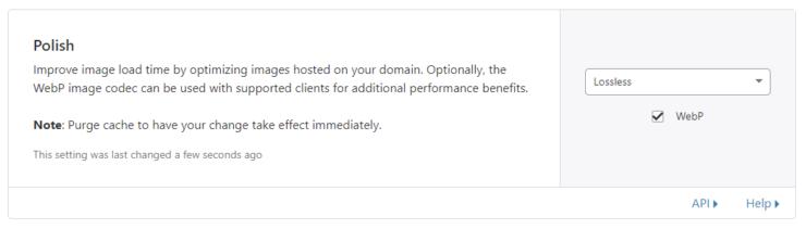 Cloudflare Polish option for generating webp images