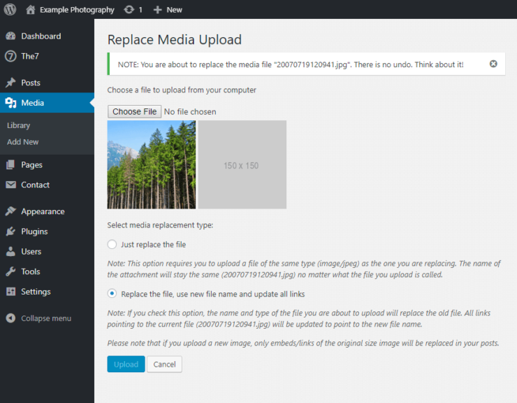 Enable media replace plugin preview
