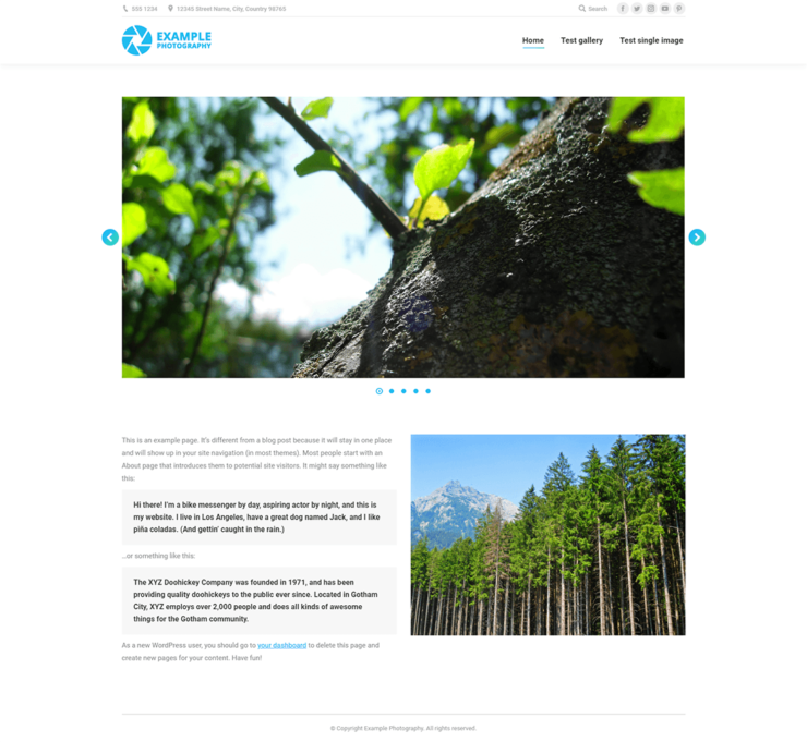Example of a standard photography website homepage with a slideshow