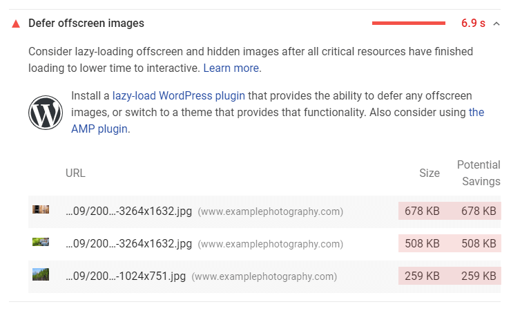 Google PageSpeed Insights - defer offscreen images