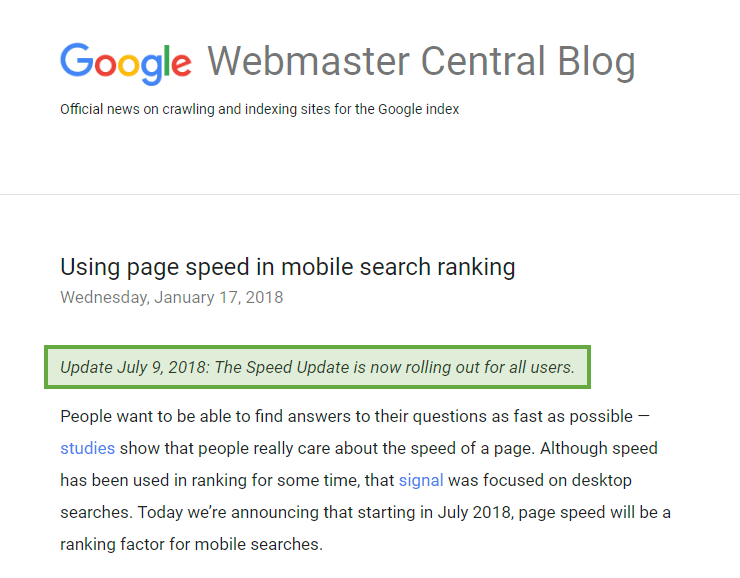 Google Webmaster blog post on page speed in mobile rankings