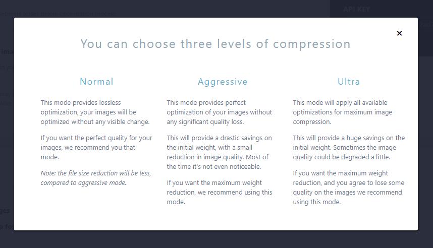 Imagify plugin settings - compression levels
