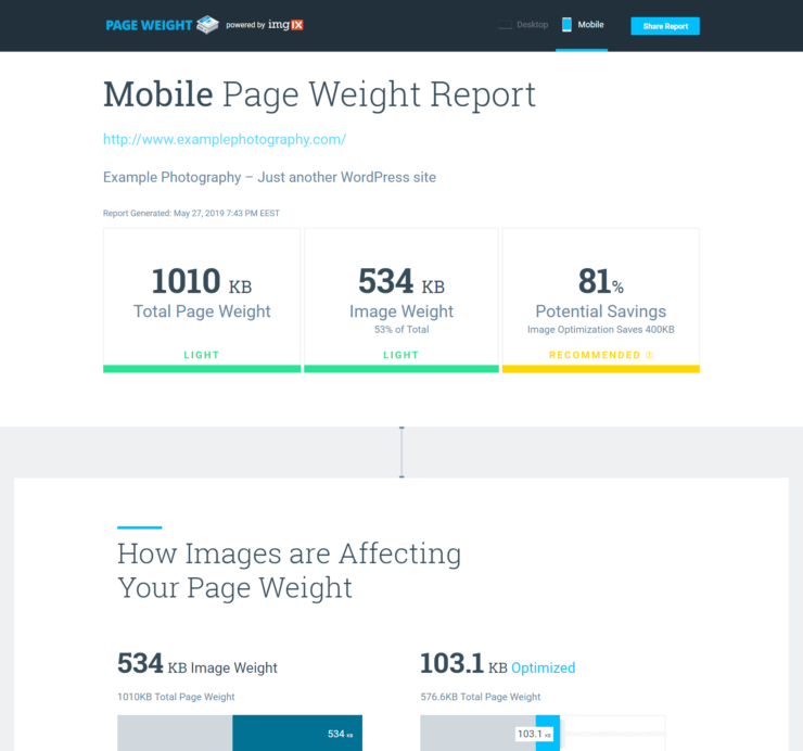 Mobile Page Weight Report preview showing potential savings