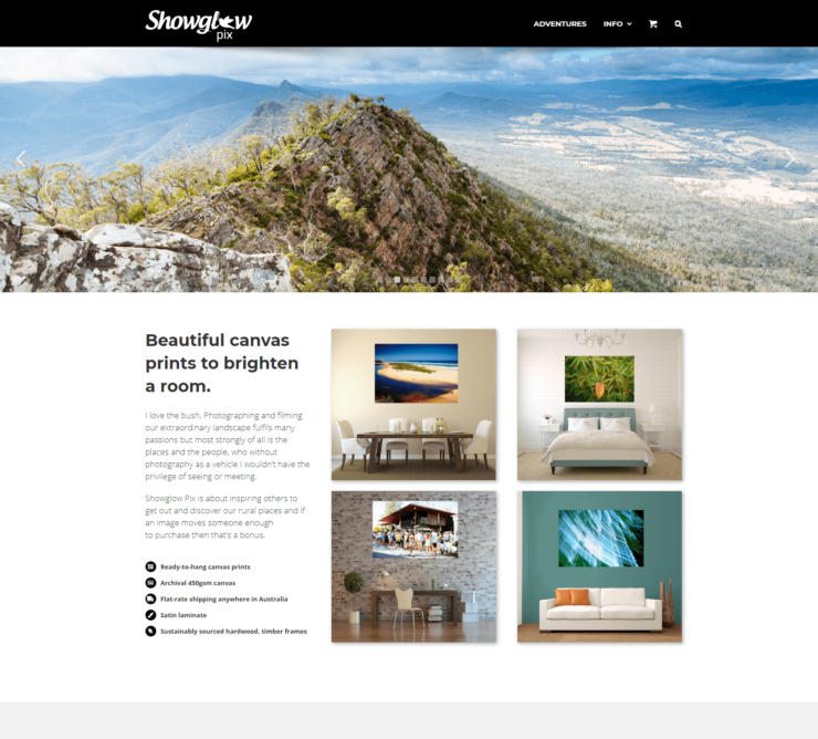 photography website homepage with panoramic slider