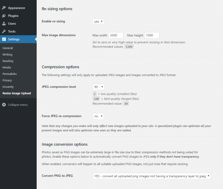 "Settings page for the ""Resize Image After Upload"" plugin"